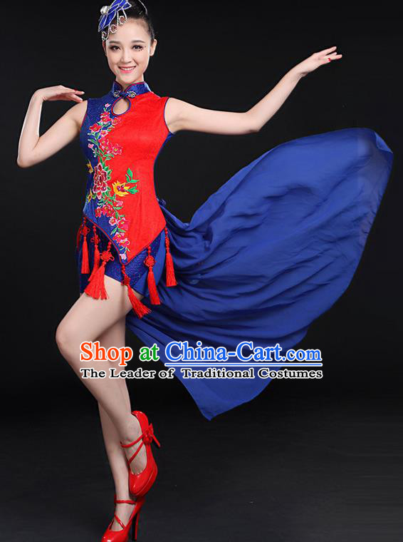 Traditional Chinese Yangge Fan Dancing Costume, Folk Dance Yangko Embroidered Uniforms, Classic Umbrella Dance Elegant Dress Drum Dance Cheongsam Blue Clothing for Women