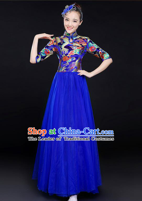 Traditional Chinese Modern Dancing Compere Costume, Women Opening Classic Chorus Singing Group Dance Bubble Uniforms, Modern Dance Classic Dance Big Swing Blue Cheongsam Dress for Women
