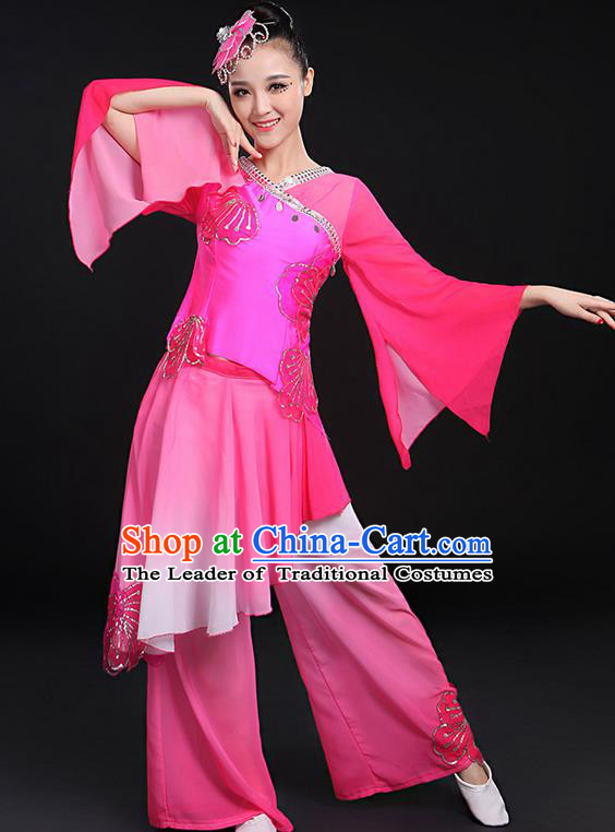 Traditional Chinese Yangge Fan Dancing Costume, Folk Dance Yangko Mandarin Sleeve Uniforms, Classic Dance Elegant Dress Drum Dance Butterfly Clothing for Women