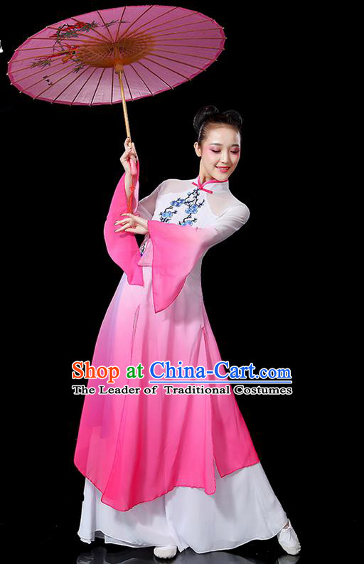 Traditional Chinese Yangge Fan Dancing Costume, Folk Dance Yangko Mandarin Sleeve Embroidered Plum Blossom Uniforms, Classic Umbrella Dance Elegant Dress Drum Dance Pink Clothing for Women