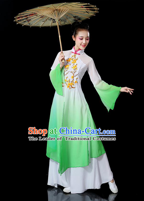 Traditional Chinese Yangge Fan Dancing Costume, Folk Dance Yangko Mandarin Sleeve Embroidered Plum Blossom Uniforms, Classic Umbrella Dance Elegant Dress Drum Dance Green Clothing for Women
