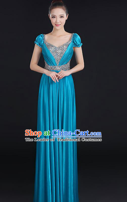 Traditional Chinese Modern Dancing Compere Costume, Women Opening Classic Chorus Singing Group Dance Crystal Dress Uniforms, Modern Dance Classic Dance Big Swing Blue Dress for Women