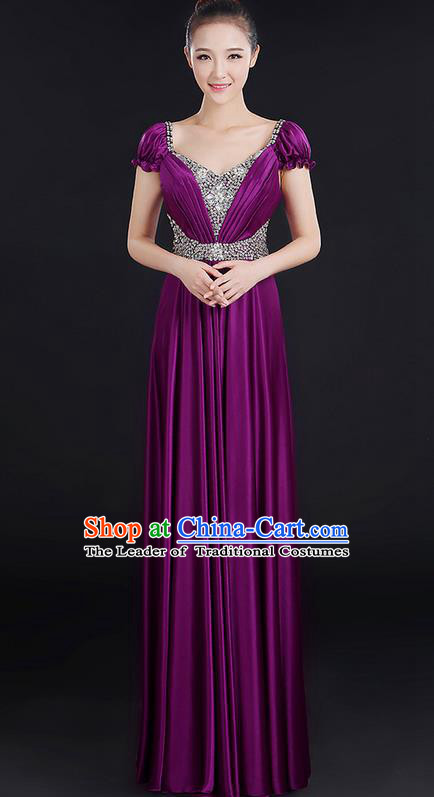 Traditional Chinese Modern Dancing Compere Costume, Women Opening Classic Chorus Singing Group Dance Crystal Dress Uniforms, Modern Dance Classic Dance Big Swing Purple Dress for Women