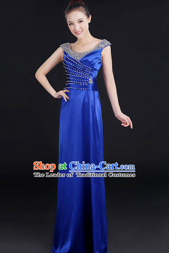 Traditional Chinese Modern Dancing Compere Costume, Women Opening Classic Chorus Singing Group Dance Crystal Dress Uniforms, Modern Dance Classic Dance Royalblue Dress for Women