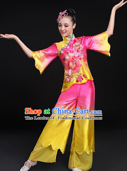 Traditional Chinese Yangge Fan Dancing Costume, Folk Dance Yangko Uniforms, Classic Umbrella Dance Elegant Mandarin Sleeve Dress Drum Dance Pink Clothing for Women