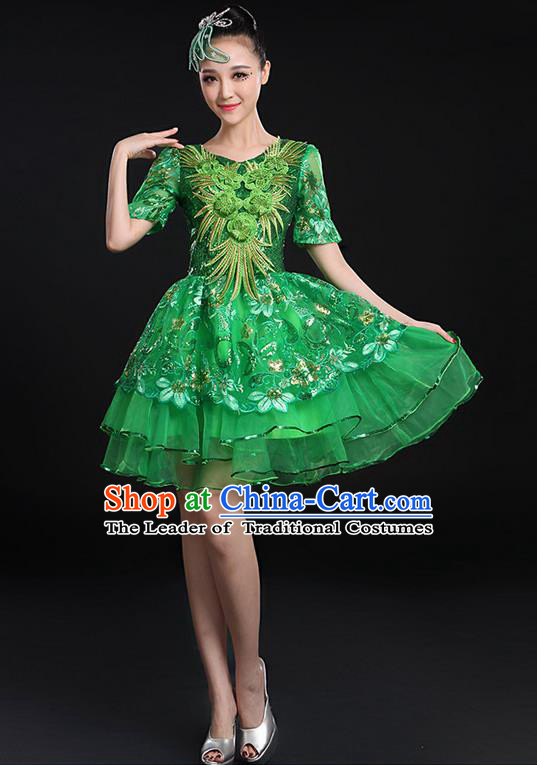 Traditional Chinese Modern Dancing Compere Costume, Women Opening Classic Chorus Singing Group Dance Paillette Uniforms, Modern Dance Bubble Short Green Dress for Women