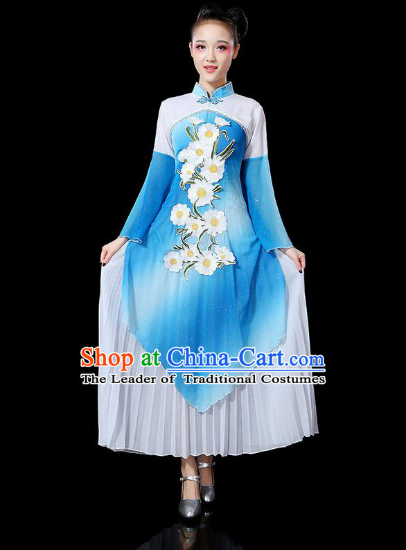 Traditional Chinese Yangge Fan Dancing Costume, Folk Dance Yangko Mandarin Sleeve Uniforms, Classic Umbrella Dance Elegant Dress Drum Dance Blue Clothing for Women