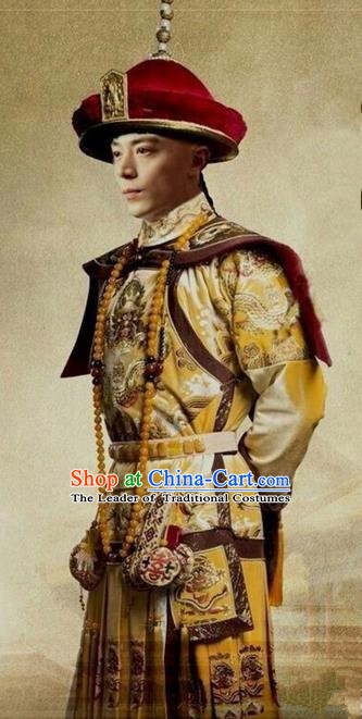 Traditional Ancient Chinese Imperial Emperor Costume, Chinese Qing Dynasty Manchu Palace Dress, Chinese Mandarin Robes Imperial King Embroidered Dragon Clothing for Men