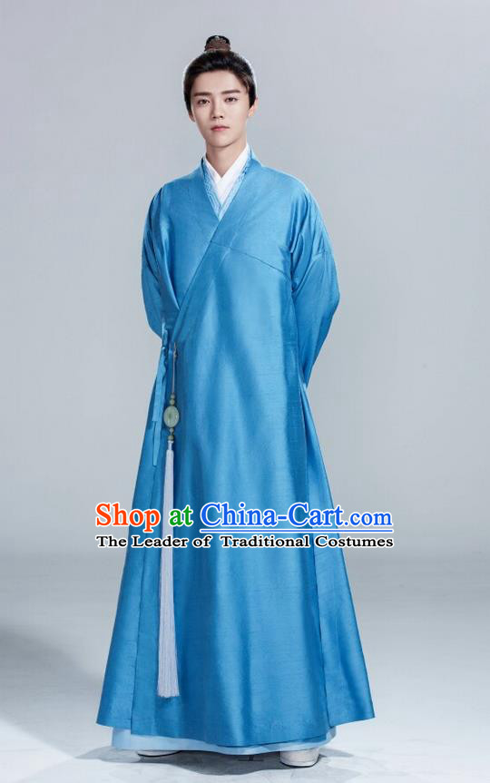 Traditional Ancient Chinese Nobility Childe Costume, Elegant Hanfu Male Lordling Dress, Cosplay China  Swordsman Blue Clothing for Men