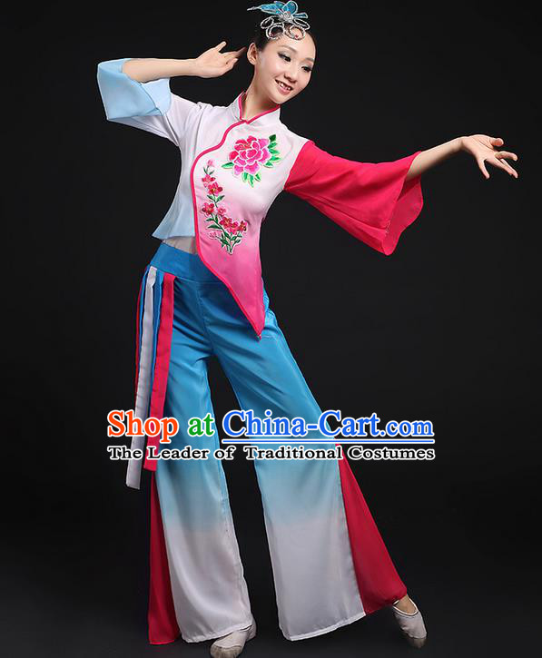 Traditional Chinese Yangge Fan Dancing Costume, Folk Dance Yangko Flowers Mandarin Sleeve Embroidered Peony Uniforms, Classic Umbrella Dance Elegant Dress Drum Dance Blue Clothing for Women