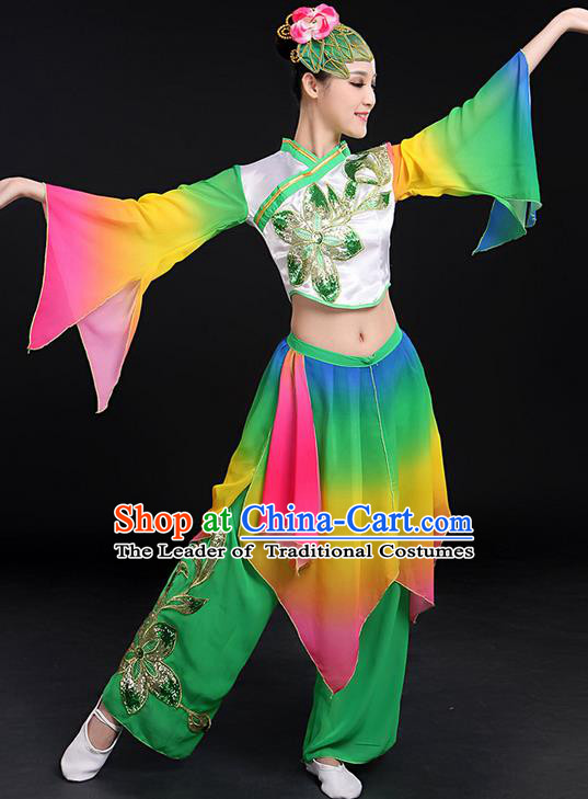 Traditional Chinese Yangge Fan Dancing Costume, Folk Dance Yangko Flowers Mandarin Sleeve Paillette Peony Uniforms, Classic Umbrella Dance Elegant Dress Drum Dance Clothing for Women