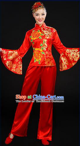 Traditional Chinese Yangge Fan Dancing Costume, Folk Dance Yangko Mandarin Sleeve Satin Peony Uniforms, Classic Umbrella Dance Elegant Dress Drum Dance Red Clothing for Women