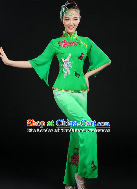 Traditional Chinese Yangge Fan Dancing Costume, Folk Dance Yangko Mandarin Sleeve Butterfly Peony Uniforms, Classic Umbrella Dance Elegant Dress Drum Dance Clothing for Women