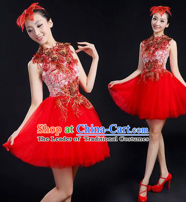 Traditional Chinese Modern Dancing Compere Costume, Women Opening Classic Chorus Singing Group Dance Paillette Uniforms, Modern Dance Bubble Short Red Dress for Women