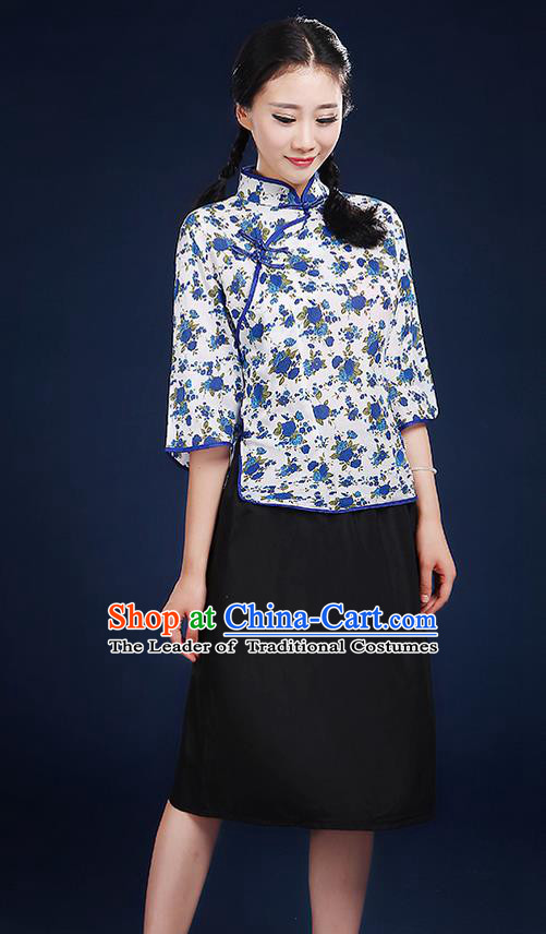 Traditional Chinese Style Modern Dancing Compere Costume, Women Chorus Singing Group Opening Classic Dance Republic of China Students Blue Flowers Uniforms, Modern Dance Cheongsam Blouse Dress for Women