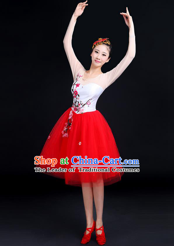 Traditional Chinese Modern Dancing Compere Costume, Women Opening Classic Chorus Singing Group Dance Embroider Plum Blossom Bubble Uniforms, Modern Dance Classic Dance Big Swing Red Short Dress for Women