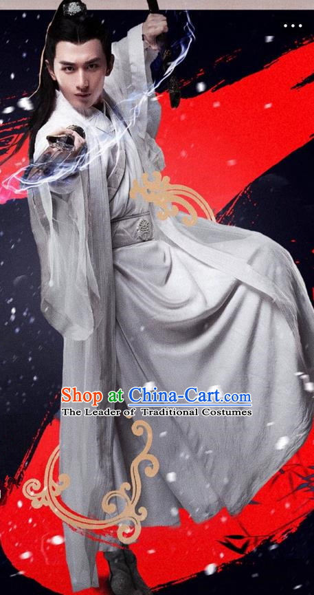 Traditional Ancient Chinese Elegant Swordsman Costume, Chinese Jiang hu Disciple Dress, Cosplay Chinese Television Drama Jade Dynasty Qing Yun Faction Young Justice Hanfu Clothing for Men