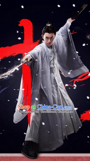 Traditional Ancient Chinese Elegant Swordsman Costume, Chinese Jiang hu Taoist Priest Dress, Cosplay Chinese Television Drama Jade Dynasty Qing Yun Faction Young Justice Hanfu Clothing for Men