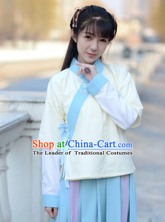 Traditional Ancient Chinese Young Lady Costume Embroidered Slant Opening Half-Sleeves, Elegant Hanfu Vests Clothing Chinese Ming Dynasty Imperial Princess Dress Clothing for Women