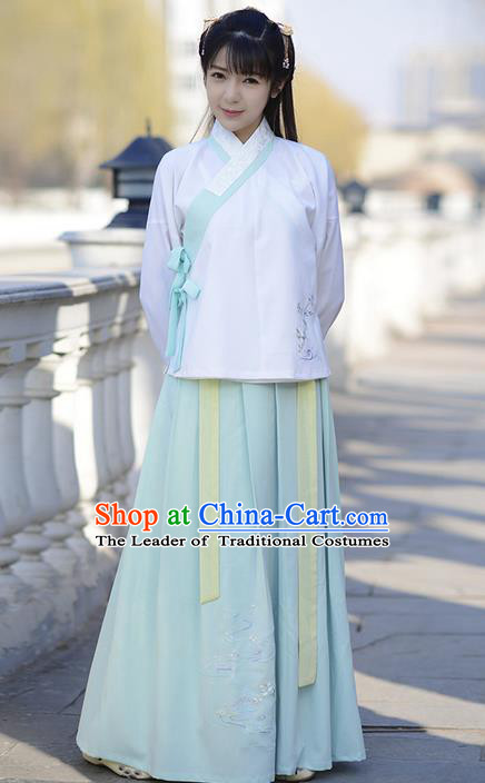 Traditional Ancient Chinese Young Lady Elegant Costume Embroidered Lotus Slant Opening Blouse and Slip Skirt Complete Set , Elegant Hanfu Clothing Chinese Jin Dynasty Imperial Princess Clothing for Women
