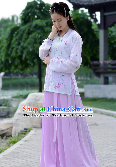 Traditional Ancient Chinese Young Lady Costume Embroidered Blouse Boob Tube Top and Pink Slip Skirt Complete Set , Elegant Hanfu Suits Clothing Chinese Song Dynasty Imperial Princess Dress Clothing for Women