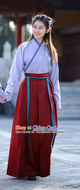 Traditional Ancient Chinese Young Lady Elegant Costume Embroidered Sea Mew Slant Opening Blouse and Slip Skirt Complete Set, Elegant Hanfu Clothing Chinese Han Dynasty Imperial Princess Clothing for Women