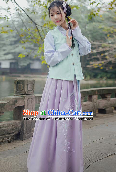 Traditional Ancient Chinese Young Lady Elegant Costume Embroidered Sleeveless Over-dress Slant Opening Blouse and Slip Skirt Complete Set, Elegant Hanfu Clothing Chinese Ming Dynasty Imperial Princess Clothing for Women