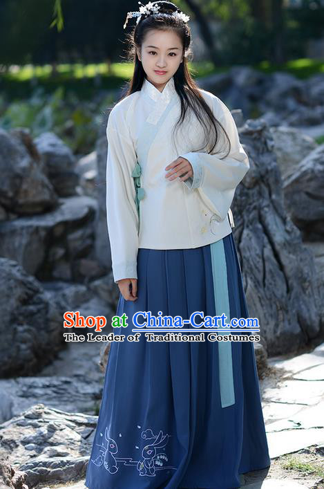 Traditional Ancient Chinese Young Lady Elegant Costume Embroidered Slant Opening Blouse and Deep Blue Slip Skirt Complete Set, Elegant Hanfu Clothing Chinese Ming Dynasty Imperial Princess Clothing for Women