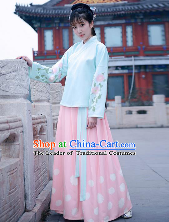 Traditional Ancient Chinese Young Lady Elegant Costume Wide Sleeve Cardigan Slant Opening Blouse and Slip Skirt Complete Set, Elegant Hanfu Clothing Chinese Ming Dynasty Imperial Princess Clothing for Women