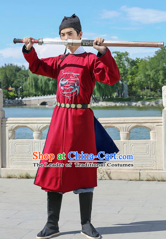 Traditional Chinese Ancient Hanfu Jiang Hu Swordsman Tang Dynasty Imperial Bodyguard Red Robe Costume for Women for Men