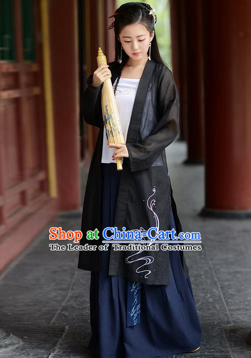 Traditional Ancient Chinese Young Lady Elegant Costume Embroidered Wide Sleeve Black Cardigan, Elegant Hanfu Clothing Chinese Jin Dynasty Imperial Princess Clothing for Women