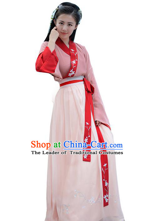 Traditional Ancient Chinese Young Lady Elegant Costume Embroidered Slant Opening Blouse and Slip Skirt Complete Set, Elegant Hanfu Clothing Chinese Song Dynasty Imperial Princess Clothing for Women