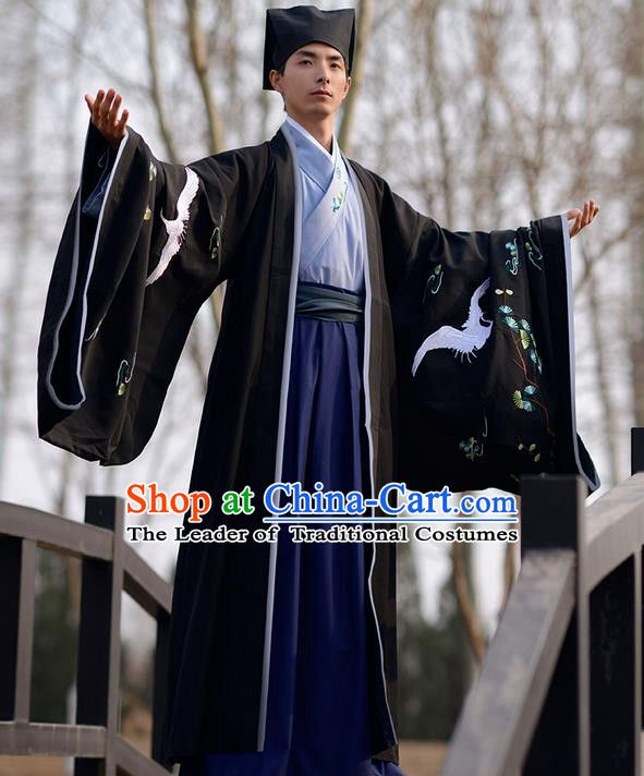 Traditional Ancient Chinese Elegant Costume Embroidered Crane Wide Sleeve Black Cardigan, Elegant Hanfu Clothing Chinese Jin Dynasty Imperial Cloak Clothing for Men