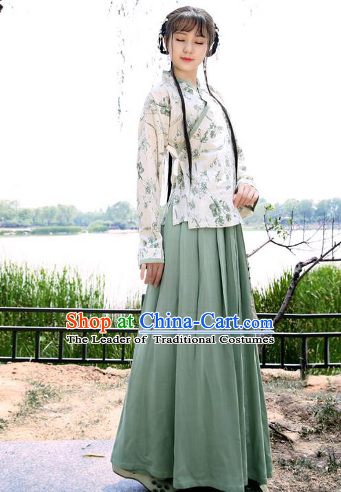 Traditional Ancient Chinese Young Lady Elegant Costume Linen Slant Opening Blouse and Slip Skirt Complete Set, Elegant Hanfu Clothing Chinese Ming Dynasty Imperial Princess Clothing for Women