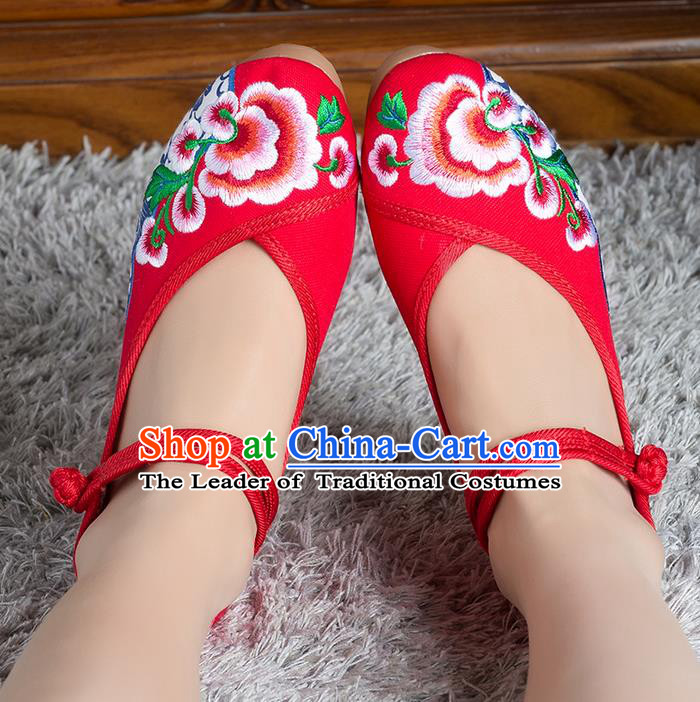 Traditional Chinese Shoes, China Handmade Linen Embroidered Flowers Red High-heeled Shoes, Ancient Princess Cloth Shoes for Women
