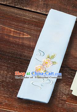 Traditional Ancient Chinese Young Lady Elegant Embroidered Peach Blossom Light Blue Snood Hairlace Bandeau for Women
