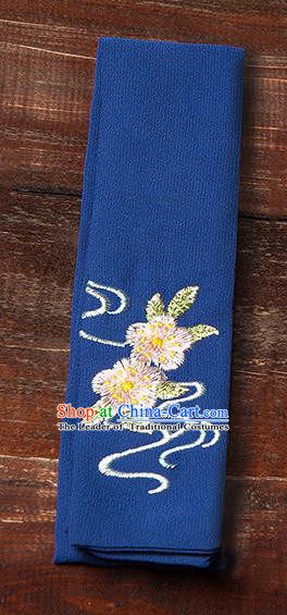 Traditional Ancient Chinese Young Lady Elegant Embroidered Peach Blossom Royalblue Snood Hairlace Bandeau for Women