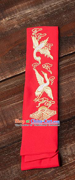 Traditional Ancient Chinese Young Lady Elegant Embroidered Crane Red Snood Hairlace Bandeau for Women