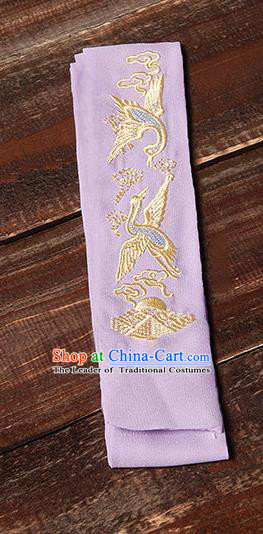 Traditional Ancient Chinese Young Lady Elegant Embroidered Crane Purple Snood Hairlace Bandeau for Women