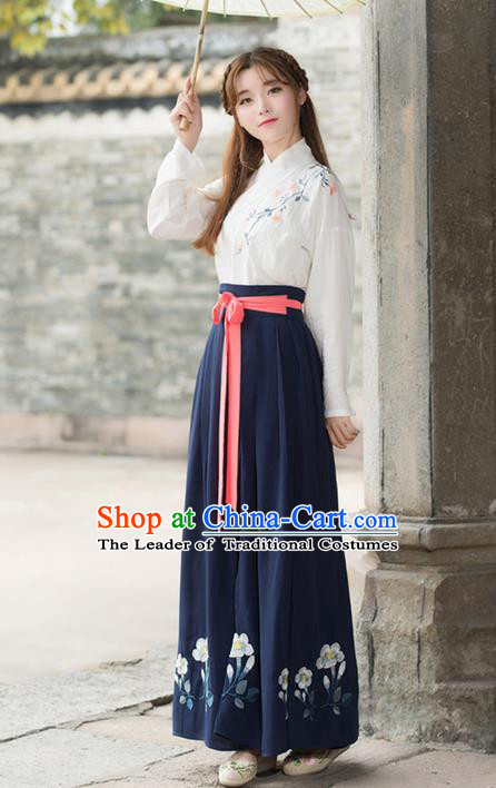 Traditional Ancient Chinese Costume, Elegant Hanfu Clothing Embroidered Slant Opening Blue Blouse and Slip Skirt Complete Set, China Han Dynasty Princess Elegant Clothing for Women