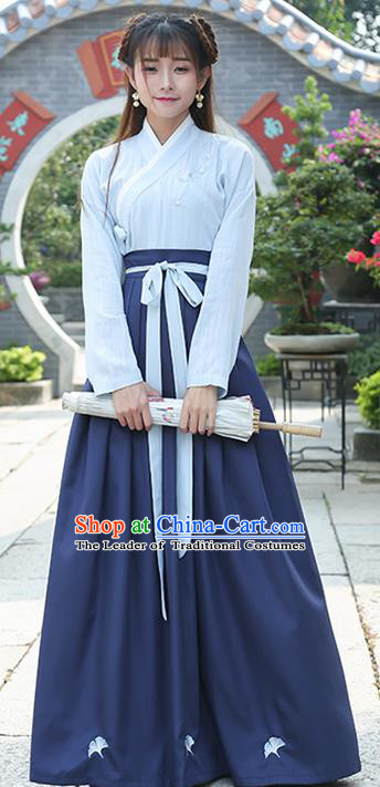 Traditional Ancient Chinese Costume, Elegant Hanfu Clothing Embroidered Slant Opening Blue Blouse and Slip Dress Complete Set, China Han Dynasty Princess Elegant Clothing for Women
