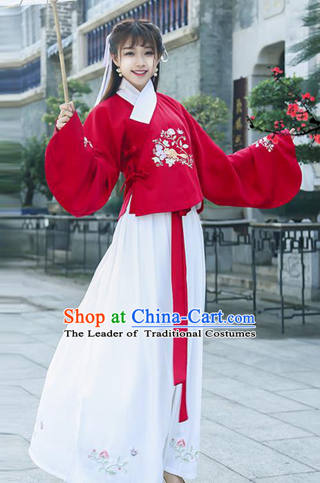 Traditional Ancient Chinese Young Lady Costume Embroidered Red Slant Opening Blouse and Slip Skirt, Elegant Hanfu Suits Clothing Chinese Ming Dynasty Imperial Princess Dress Clothing for Women