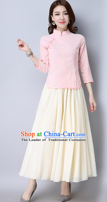 Traditional Chinese National Costume, Elegant Hanfu Pink Slant Opening Blouse, China Tang Suit Retro Plated Buttons Chirpaur Blouse Cheong-sam Upper Outer Garment Qipao Shirts Clothing for Women