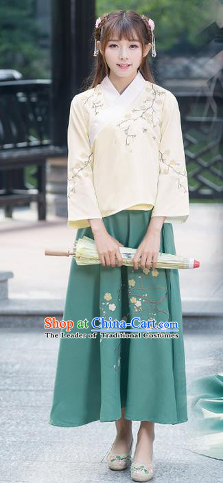 Traditional Ancient Chinese Costume, Elegant Hanfu Clothing Embroidered Slant Opening Blouse, China Han Dynasty Princess Elegant Clothing for Women