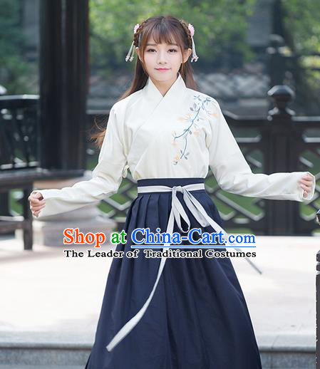 Traditional Ancient Chinese Young Lady Costume Embroidered Slant Opening Blouse, Elegant Hanfu Suits Clothing Chinese Ming Dynasty Imperial Princess Dress Clothing for Women