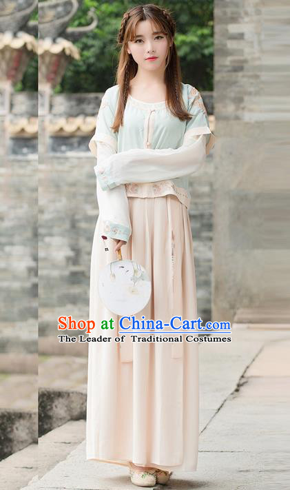 Traditional Ancient Chinese Young Lady Costume Embroidered Half-Sleeves Blouse and Slip Skirt, Elegant Hanfu Suits Clothing Chinese Ming Dynasty Imperial Princess Dress Clothing for Women