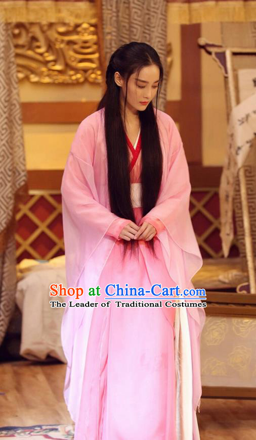 Traditional Ancient Chinese Princess Elegant Costume, Chinese Ming Dynasty Imperial Consort Pink Dress, Cosplay Chinese Television Drama Vagabondize Princess Hanfu Trailing Embroidery Clothing for Women