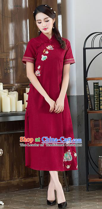 Traditional Ancient Chinese National Costume, Elegant Hanfu Mandarin Qipao Embroidered Red Dress, China Tang Suit Cheongsam Upper Outer Garment Elegant Dress Clothing for Women
