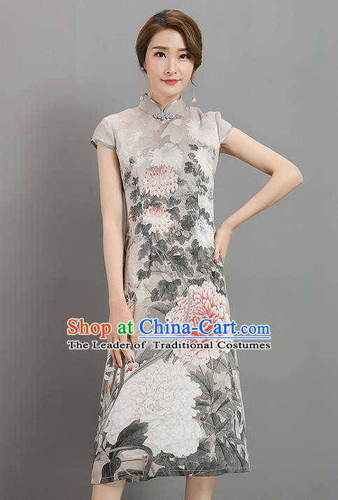 Traditional Ancient Chinese National Costume, Elegant Hanfu Mandarin Qipao Linen Printing Dress, China Tang Suit Chirpaur Republic of China Cheongsam Garment Elegant Dress Clothing for Women