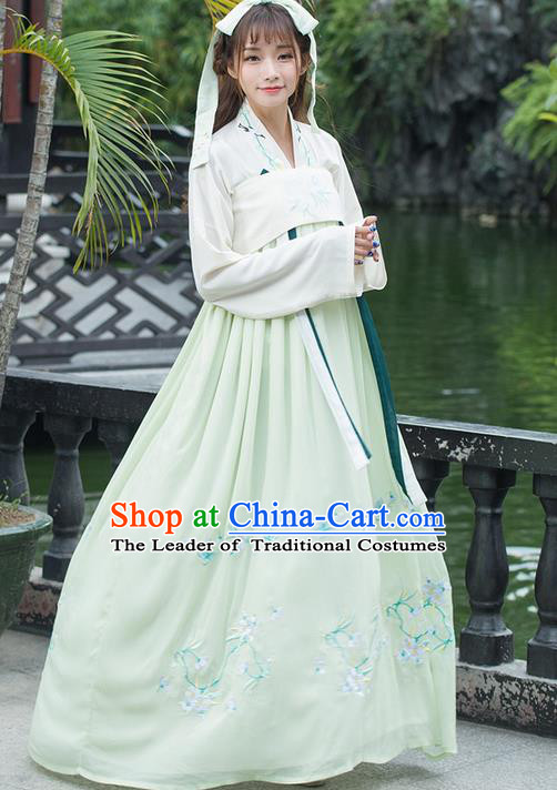 Traditional Ancient Chinese Young Lady Costume Embroidered Blouse and Green Slip Skirt Complete Set, Elegant Hanfu Suits Clothing Chinese Tang Dynasty Imperial Princess Dress Clothing for Women